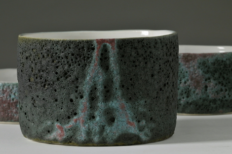 moss porcelain ceramic bowl with volcanic glaze